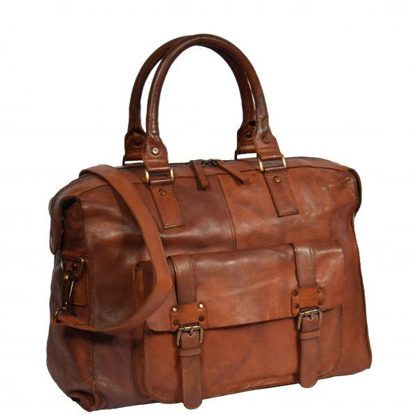 Vintage Leather Lightweight Duffle Bag HOL7799 Tan Color