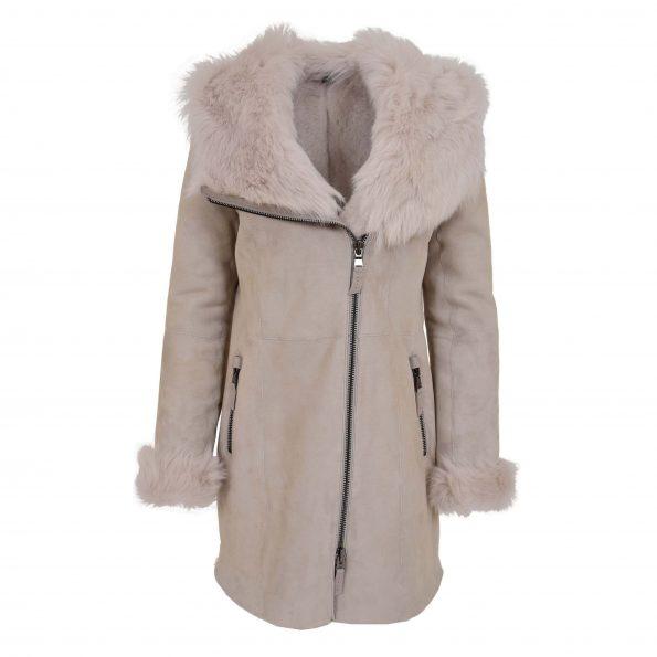 Womens Sheepskin Coat with Toscana Trim Hoodie Maggie Frost Grey