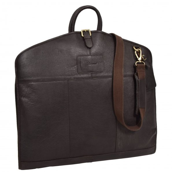 Luxury Leather Slimline Garment Carrier Keswich Brown