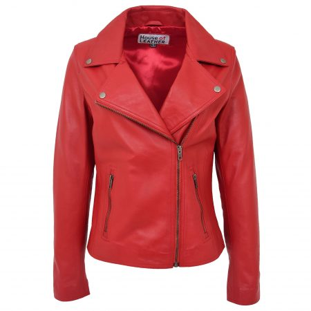 Womens Soft Leather Cross Zip Biker Jacket Lola Red