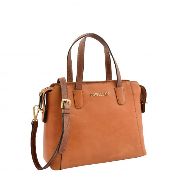 Womens Leather Small Tote Cross Body Bag Elsie Tan
