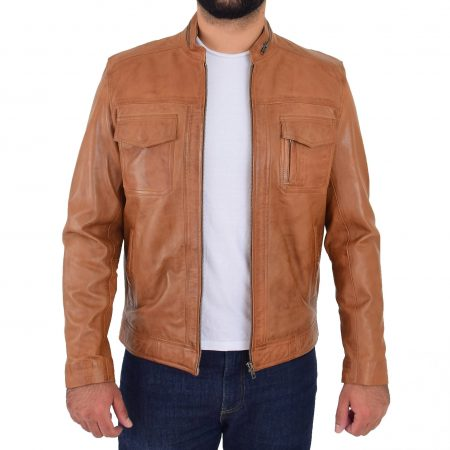Mens Casual Biker Leather Jacket Jaime Tan