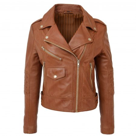 Womens Soft Leather Cross Zip Fashion Jacket Remi Tan