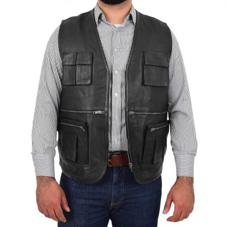 Mens Real Leather Multi-Purpose Waistcoat Gary Black
