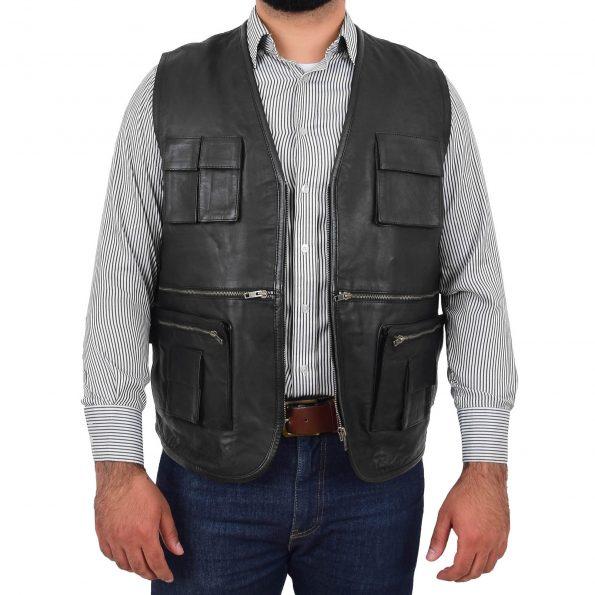 Men's Leather Multi-Purpose Waistcoat Black