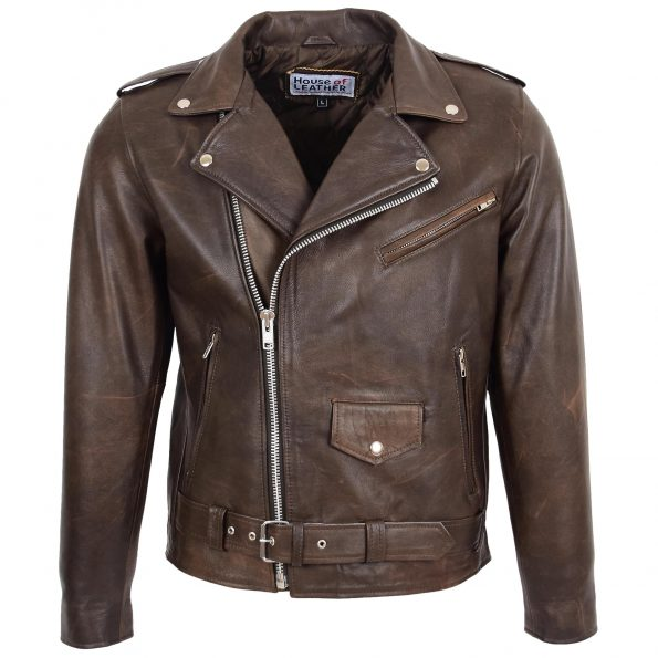 Mens Heavy Duty Leather Biker Brando Jacket Kyle Antique Brown