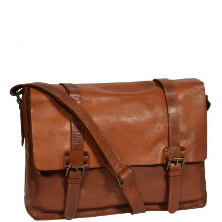 Mens Classic Flap Over Leather Satchel HOL6799 Tan