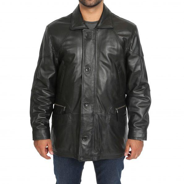 Men's Classic Leather Winter Car Coat