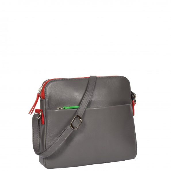 Womens Soft Leather Small Sling Bag Ellie Grey