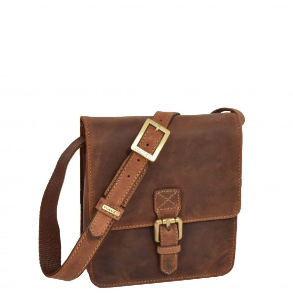 Small Cross Body Leather Pouch HOL22 Tan