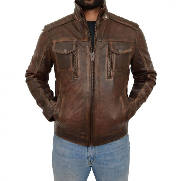 Mens Leather Urban Biker Style Jacket Hugo Brown Vintage