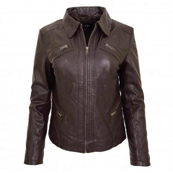 Womens Classic Leather Biker Zip Box Jacket Nova Brown
