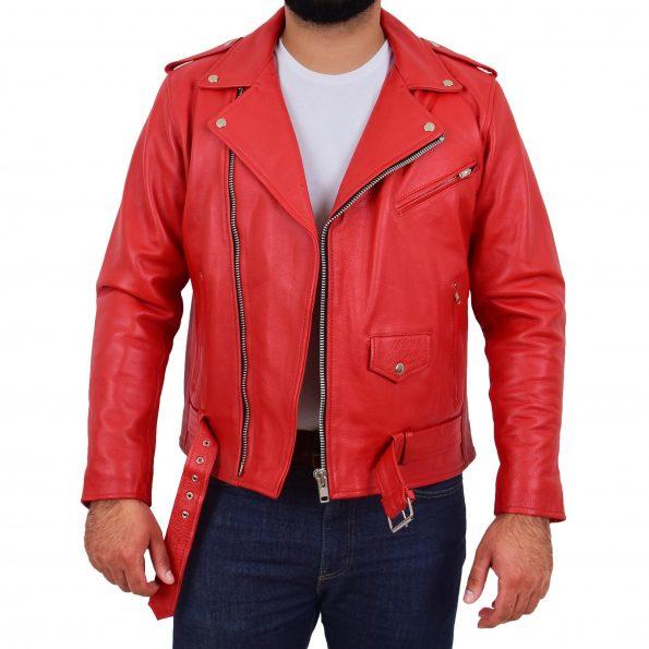 Mens Heavy Duty Leather Biker Brando Jacket Kyle Red