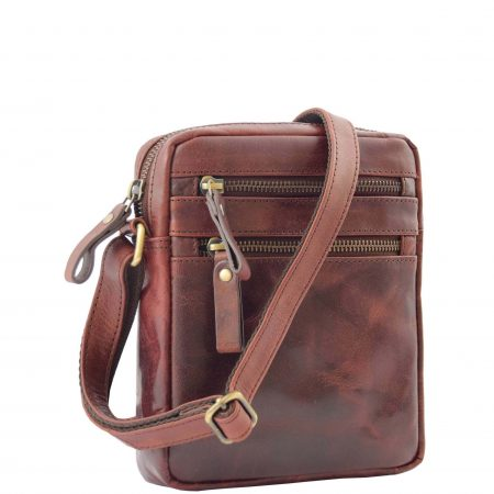 Mens Leather Cross Body Flight Bag Belgrade Brown