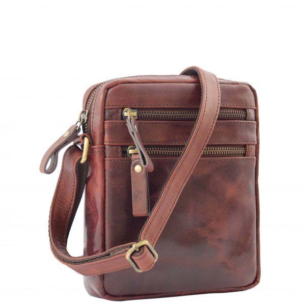 Mens Leather Cross Body Flight Bag Belgrade Brown