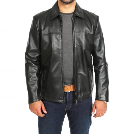 Mens Leather Zip Box Harrington Jacket James Black
