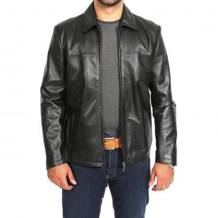 Mens Leather Zip Box Harrington Jacket James Black