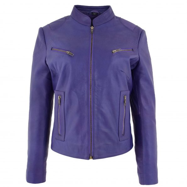 Womens Leather Standing Collar Jacket Becky Purple