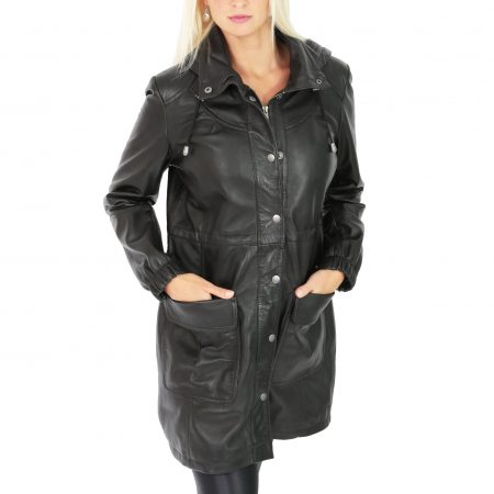 Womens 3/4 Length Leather Duffle Coat Kyra Black