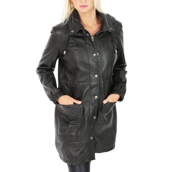 Womens 3/4 Length Leather Duffle Coat Kyra Black