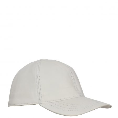 Classic Leather Baseball Cap White