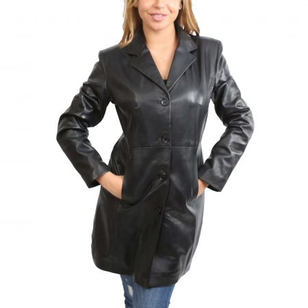 Womens 3/4 Length Soft Leather Single Breasted Coat F99 Black