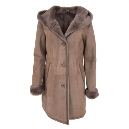 Womens 3/4 Length Sheepskin Hooded Coat Ella Taupe