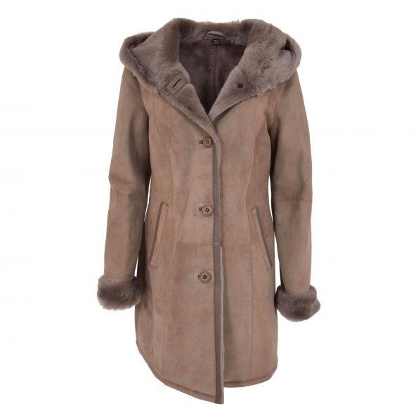 Womens 3/4 Length Sheepskin Hooded Coat Ella Taupe