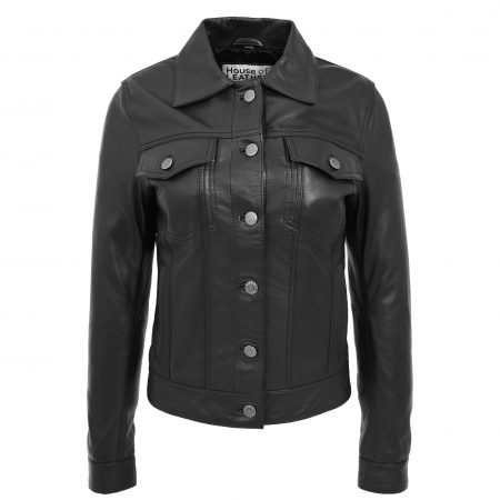 Womens Soft Leather Trucker Style Jacket Alma Black