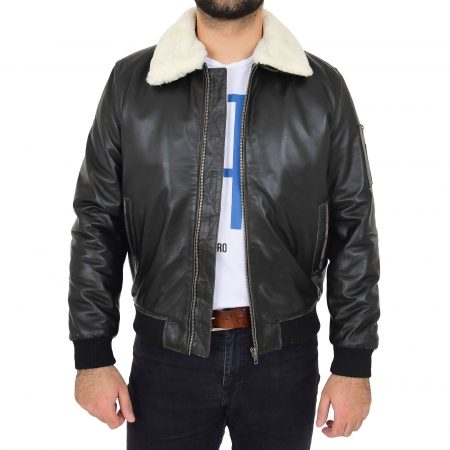 Mens Soft Leather Bomber Aviator Jacket Ricky Black Rub Off