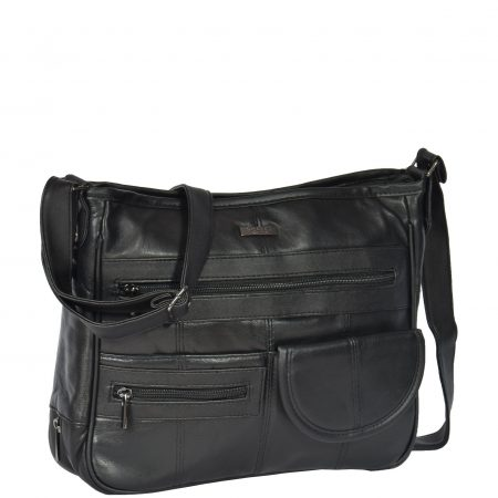 Multi Pocket Leather Shoulder Bag HOL998 Black