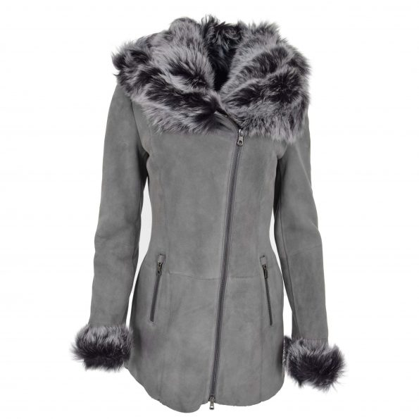 Womens Sheepskin Coat with Toscana Shearling Hoodie Evelyn Grey