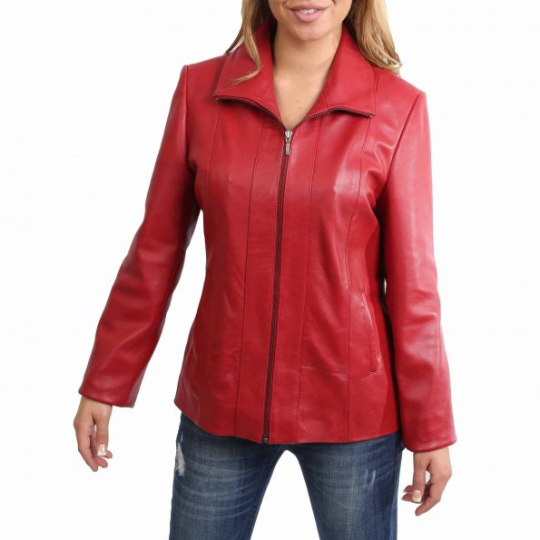 Womens Classic Zip Fastening Leather Jacket Julia Red