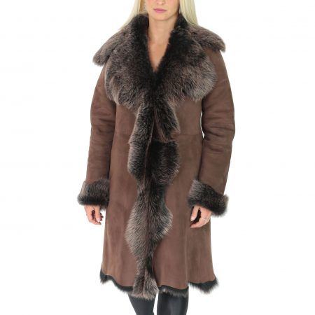 Womens 3/4 Length Toscana Shearling Luxury Coat Brown Gold