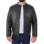 Mens Leather Quilted Anorak Style Jacket Jeff Black