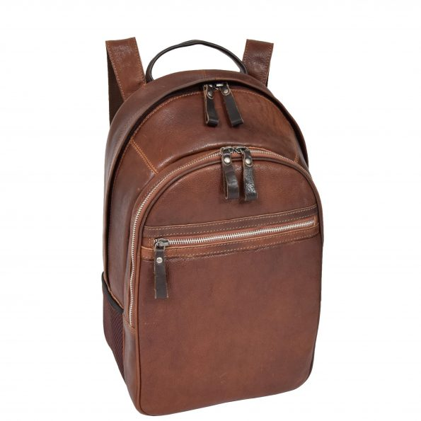 Large Multipurpose Leather Backpack HOL555 Brown