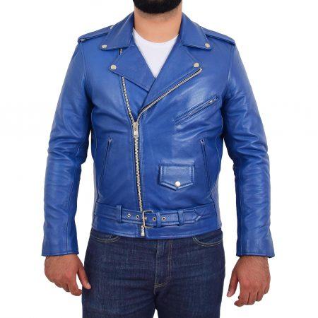 Mens Heavy Duty Leather Biker Brando Jacket Kyle Blue