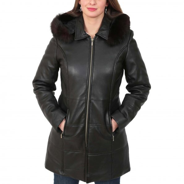 Womens 3/4 Length Padded Leather Coat Lisa Black