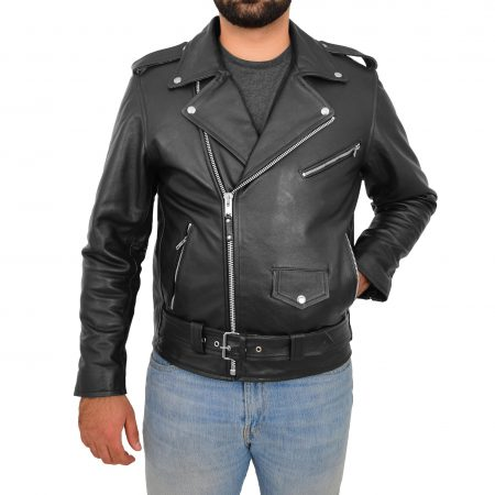 Mens Heavy Duty Leather Biker Brando Jacket Kyle Black