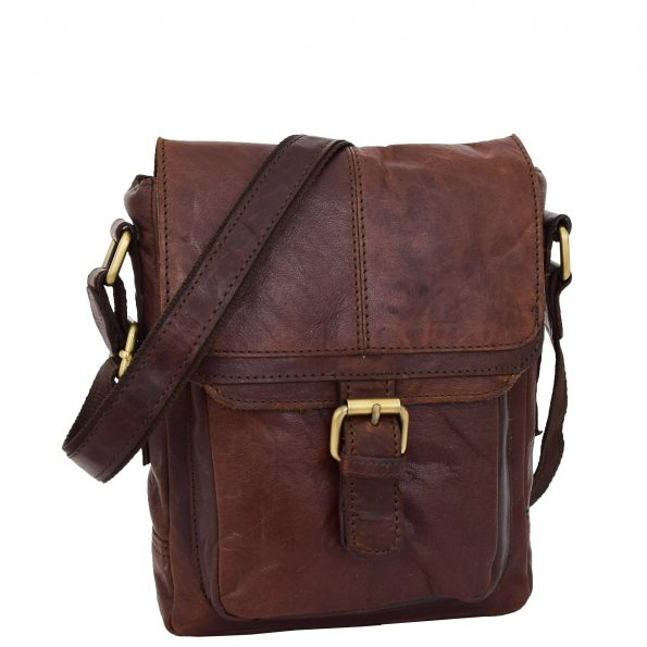 Mens Leather Cross Body Flight Bag Oldenburg Brown