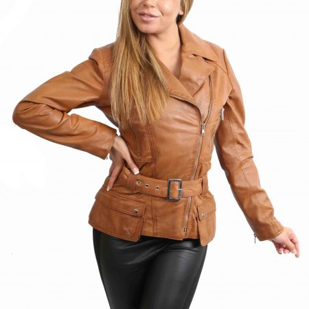 Womens Leather Hip Length Biker Jacket Celia Tan