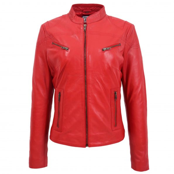 Womens Leather Standing Collar Jacket Becky Red
