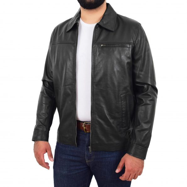 Mens Soft Leather Plain Zip Box Casual Jacket Frank Black