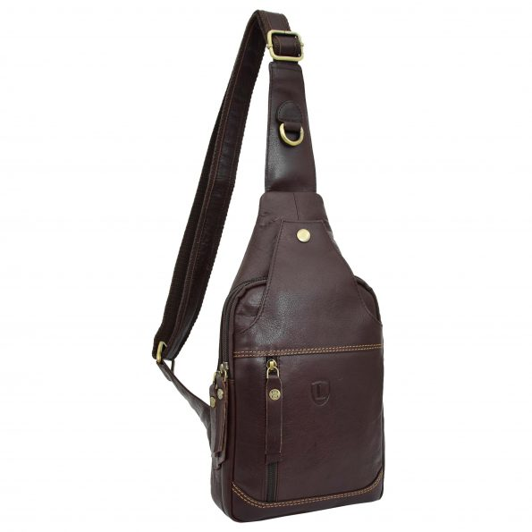 Mens Leather Cross Body Chest Bag Leo Brown