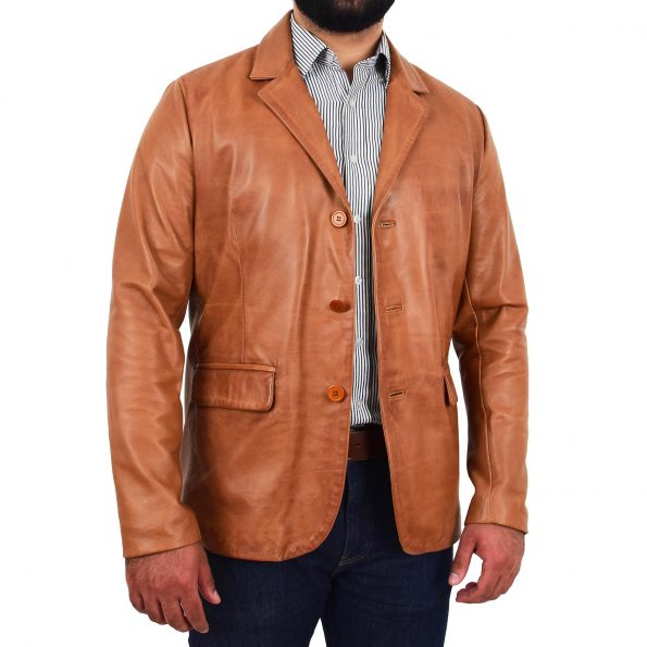 Mens Classic Three Button Soft Leather Blazer David Tan