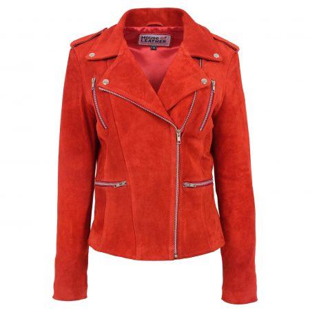 Womens Suede Biker Style Zip Jacket Skylar Red