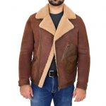 Mens Sheepskin Aviator Jacket Cross Zip Biker Style Dustin Brown Ginger