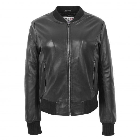 Womens Real Leather Varsity Bomber Jacket Faye Black