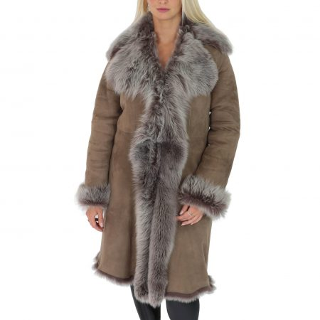 Womens 3/4 Length Toscana Shearling Luxury Coat Taupe Brissa