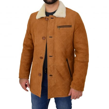 Mens Sheepskin Jacket Cross Stitch Anorak Edwin Tan White
